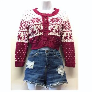 Decree | NWT Cropped Christmas Cardigan Sweater